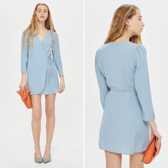 NWT TOPSHOP Light Blue Wrap Dress 655df6907
